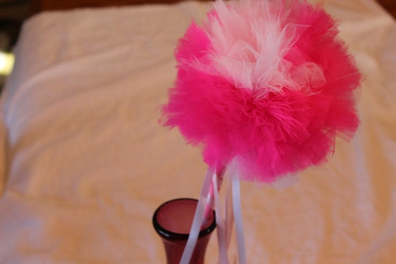 Pink and white magic wand dress up wand princess wand tulle - Pinke wand ideen ...