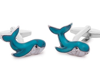 Cufflink Featuring a Blue Whale