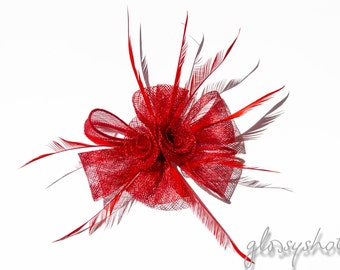 Red Classic Sinamay Flower Fascinator/Clip