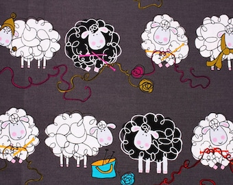 Sheep printed Fabric, Knitty Sheep designed by Greta Lynn for Kanvas Fabric / Half Yard, Cotton 100%