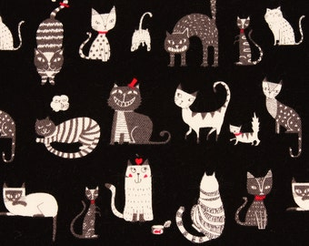 "Animal) Cat, Kitten Oxford Cotton Fabric made in Japan 40cm×105cm, 15.5""×43"""