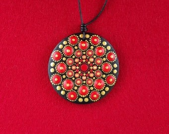 Mandala pendant, hand painted