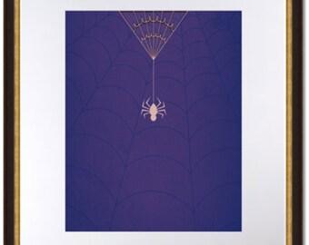 Spiderman Minimalist Poster-Spider Dangling from Web-Digital Print