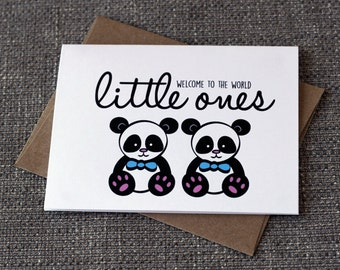 Welcome To The World Little One Cute Twin Baby Shower Panda Expecting Greeting Card