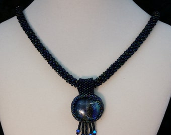Blue Kumihimo Pendant Necklace