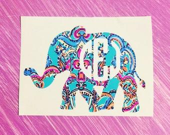 Lilly Pulitzer print monogram elephant decal