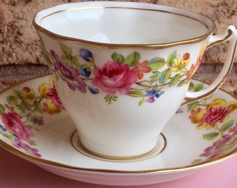 Pretty in Pink-Old Royal Swansea Teacup and Saucer
