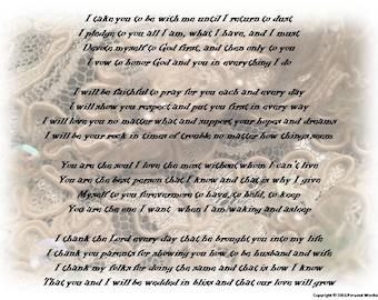 Christian Wedding Vows Digital Print Downloadable Marriage Rhyming Poetry