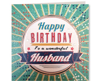 Happy Birthday Husband - Husband Birthday Card - Wonderful Husband - Birthday Card Husband - Retro