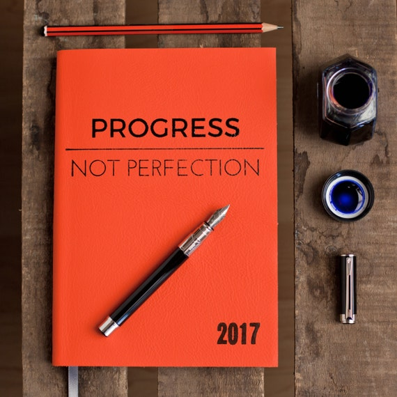 Progress Not Perfection - 2017 diary - personalised diary for 2017 - luxury leather with 9 colour choices - Christmas 2016 gift