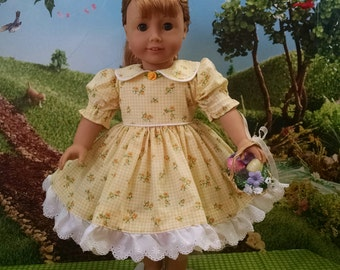 For American Girl Dolls and Other 18 inch dolls! Precious Yellow Gingham Print dress.
