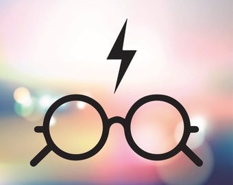 Harry Potter glasses vector graphic - Harry Potter lightning bolt SVG - Harry Potter graphic files for Silhouette studio