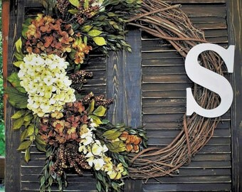 Rustic Grapevine Wreath with Hydrangeas