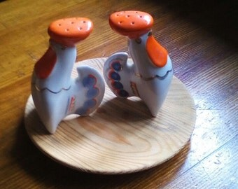 Rooster Design Salt and Pepper Shakers Made in USSR Collectible