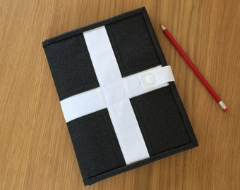 A5 Cornish Note Pad Holder, St Piran's Flag, Quilted Sketch Pad Cover, Writing Pad Holder, Portfolio Cover, Organiser, Notebook Cover