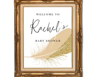 Baby Shower Welcome Sign // Customised Printable // Blush and Gold Glitter // Gold and Pink // THE FAITH COLLECTION