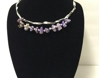 "Handmade Necklace Beaded Dyed Purple Turquoise 20"""