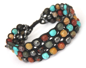 Bracelet men and women Style Shamballa beads Ø6 Picasso Jasper Hematite turquoise howlite natural stone