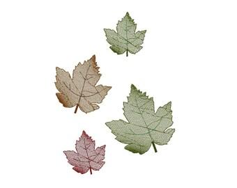 Machine embroidery leaf, leaves