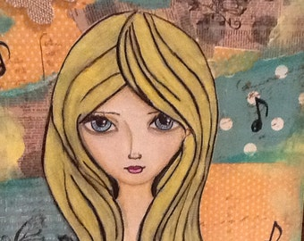 The girl and the music, original painting ,Mixed media,art girl