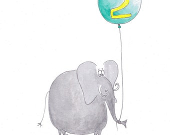 Elephant 2nd Birthday Card