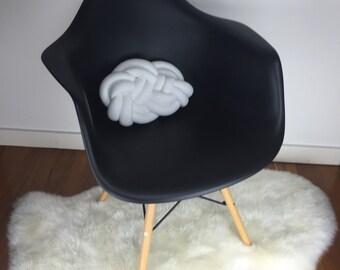 White snakes head knot braid cushion pillow