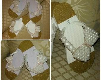 Glitter Bling Pearl Bow Flip Flops
