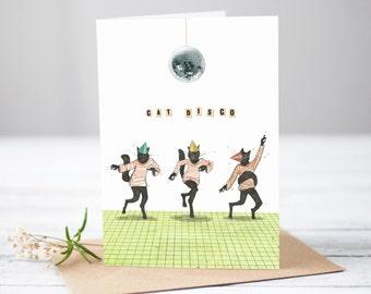 Cat Disco [Greetings Card]