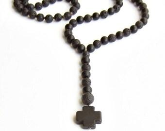 Black lava gemstone rosary necklace, Long black matte stone necklace with stone cross, Men women unisex rosary necklace
