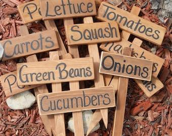 Wood Garden Marker,  Garden Sign, Hand painted Cedar Wood Sign, Vegetable Garden Row ID, YOU PICK