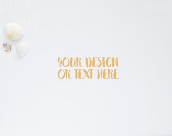 Marine Anchor and Seashells on a White Table / Stock Photography / Product Mockup / High Res File