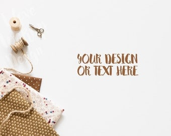Textile, Scissors and Thread on White Background / Stock Photography / Product Mockup / High Res File