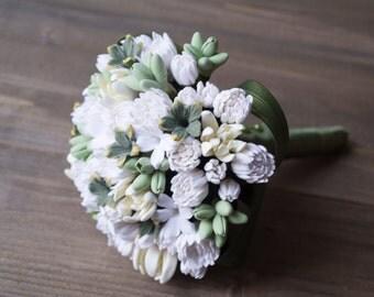 Tropical wedding bouquet, white wedding bouquet,  stephanotis, tuberose, pikake flower