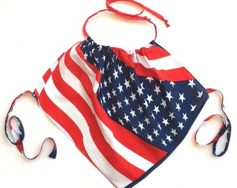 American Flag Halter Top, Stars & Stripes, 4th. of July Halter Top, American Flag Tank Top, Patriotic Beach Halter Top (201)