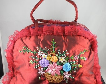 Handmade Handbag Ribbon Embroidery Flowers Totes Bag Wine Red