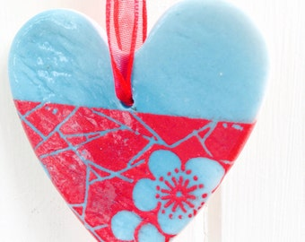 Porcelain HeArt Hanging Decoration, Handmade Red and Turquoise Flower Design