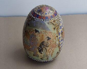"Vintage Satsuma Chinese Ceramic Egg 6"" Asian Porcelain Hand Painted Geisha Motif Collectible Genuine Satsuma Porcelain"