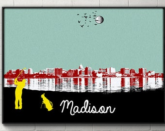 Madison Skyline Poster Madison Wisconsin Print Wall art wall decor dorm decor Golf poster skydiver Wisconsin Badgers home decor poster