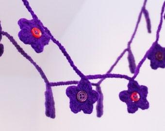 Purple Crochet Flower Bunting Garland