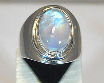 Sterling silver ring with blue moonstone setting