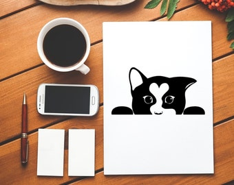 peeking cat decal - cat decal - peeking cat sticker - cat sticker - wall decal - wall decor - cat vinyl - kitten sticker