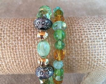 Green and yellow wrap bracelet