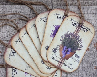 French Lavender Tags/Sweet Herb Tags/Vintage Style Gift Tags/Rustic Gift Tags/Garden Inspired Gift Tags/Set of 8