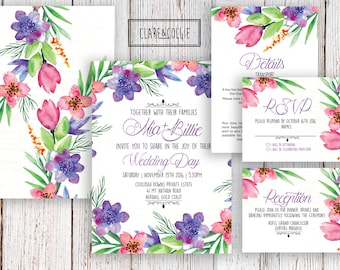 Romantic Floral Watercolor Wedding Invitation Suite - Personalized Printable Double Sided Wedding Invite RSVP Reception Details Card