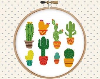 Cactus cross stitch pattern - cute cross stitch - cross stitch PDF - instant download - digital download - succulent cross stitch