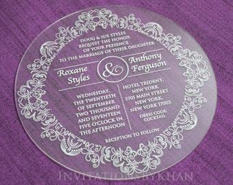 Round Acrylic Invitations Acrylic Wedding Invitations Laser Cut Wedding Invitations With Mailing Envelope