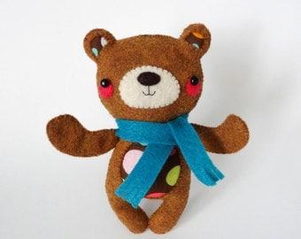 Super Sweet Handsewn Felt Teddy Bear