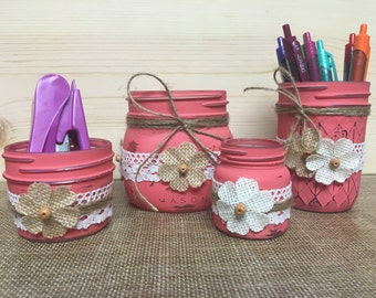 Salmon pink 4pc Mason jar desk organizer, Mason jar office decor, rustic office desk organizer