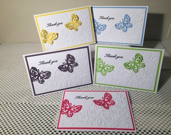 packs of 5 Handmade Thank you cards ( mixed colour pack )
