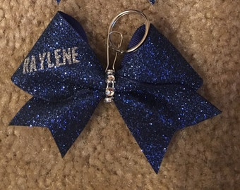 Cheer Bow Keychain with Name